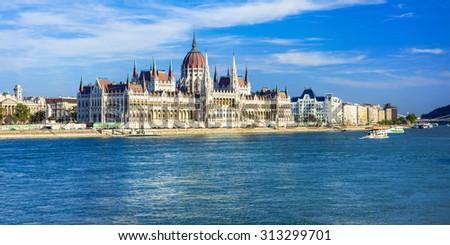 Budapest - panorama with famous landmark Parlament, Hungary - stock photo