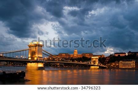 Budapest panorama with the Chain bridge - stock photo