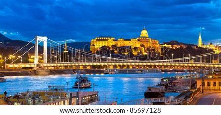 Budapest, panoramic view in the evening - stock photo
