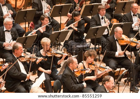 "BUDAPEST - SEPT 18: Magyar Radio Symphonic Orchestra perform on concert at ""Palace of Art"" Budapest Sept 18, 2011 in Budapest, Hungary"