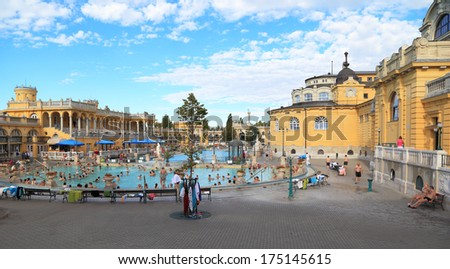 BUDAPEST - SEPT 11: Tourists and locals alike enjoying the outdoor pools at the Szechenyi Bath on Sept 11, 2013 in Budapest. - stock photo