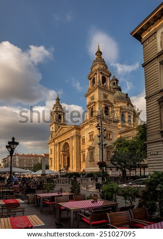 BUDAPEST - SEPTEMBER 17: View of Saint Stephen Basilica from a restaurant at St. Stephen Square on September 17, 2014 in Budapest.   - stock photo