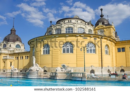 budapest szechenyi bath spa in summer with people - stock photo