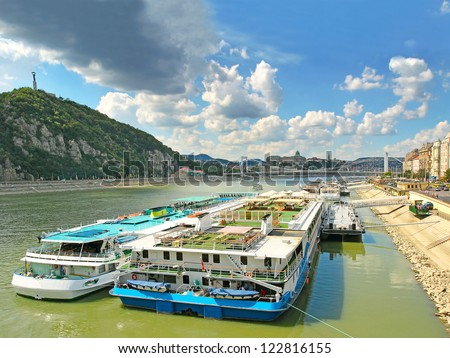 Budapest, the Danube River embankment, Hungary, World Heritage Site by UNESCO - stock photo