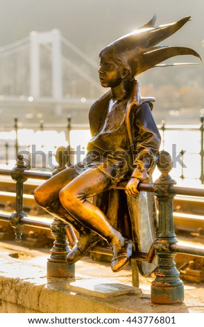 Budapest. The Little Princess, with Buda Castle in background, Hungary. - stock photo