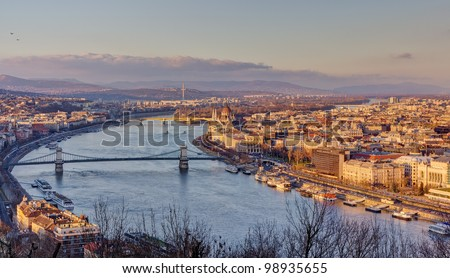 Budapest view from Gellert hill, Hungary - stock photo