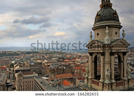 Budapest view from St. Stephen's Basilica - stock photo