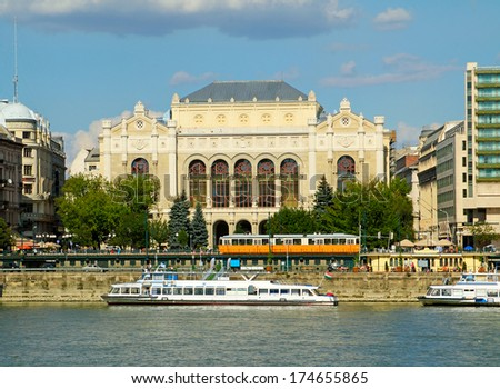 Budapest - Vigado Concert Hall on the Danube River embankment. Danube River embankment in Budapest is World Heritage Site by UNESCO - stock photo