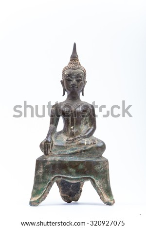 Budda in thailand with white background - stock photo