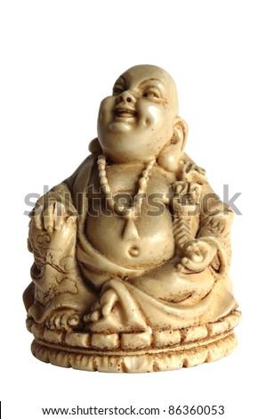 budda statue on white background - stock photo