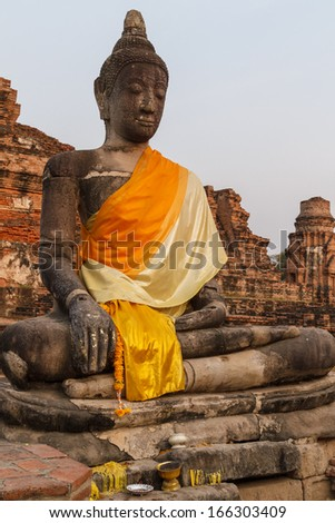 Buddah in ayutthaya bangkok Thailand - stock photo