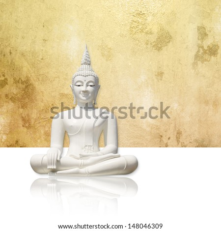 Buddha against gold background - isolated incl. clipping path - stock photo