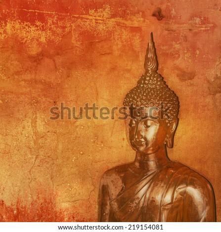 Buddha against grunge background - stock photo