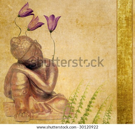 buddha and flora - stock photo
