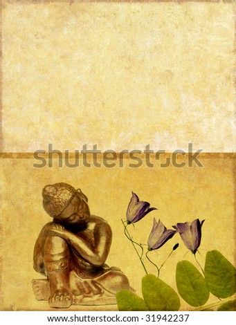 buddha and floral elements with plenty of space for text - stock photo