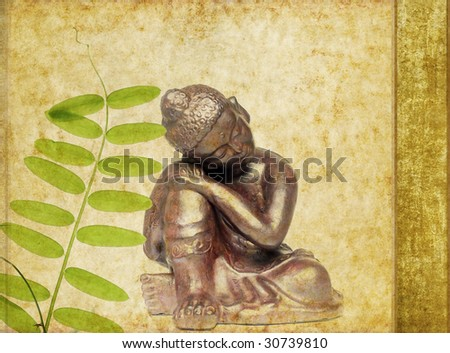 buddha and spring flora - stock photo
