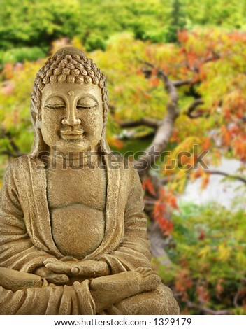 BUddha backed by a Japanese garden - stock photo
