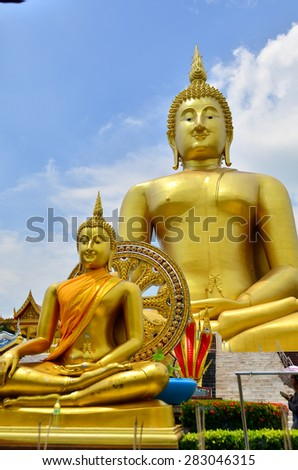 Buddha color big background temple Thailand statue Asia face isolated Buddhism Asian Ayutthaya