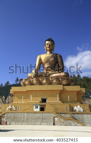 Buddha Dordenma, Thimphu, Bhutan. It is located on the top a hill Kueselphodrang Nature Park and overlooks the southern entrance of Thimphu valley. - stock photo