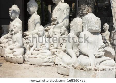 Buddha fabrication, Myanmar, Southeast Asia - stock photo