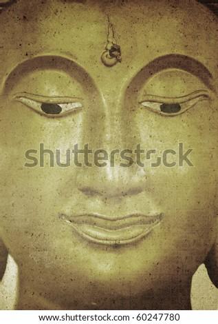 Buddha face artwork on old grunge paper - stock photo