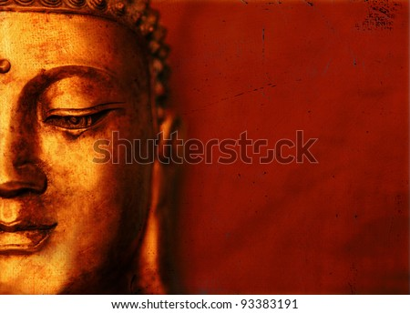 Buddha Face Grunge Background - stock photo