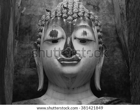 Buddha  face  image  in Black and white style, At wat sri chum ,Sukhothai ,Thailand