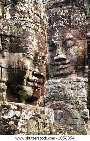 Buddha Face Statues in Angkor Wat, Cambodia - stock photo