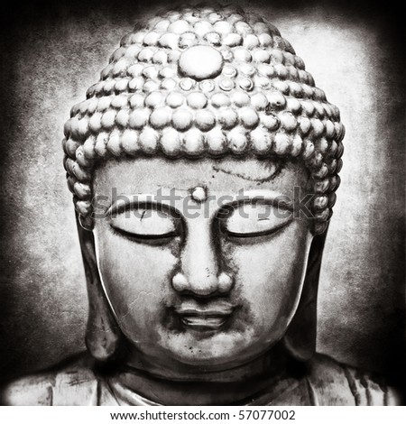 Buddha figure with texture blending process - stock photo