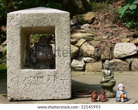 Buddha figurines near the temple, Seoul, South Korea - stock photo