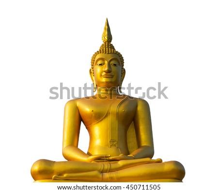Buddha Gold on white background - stock photo