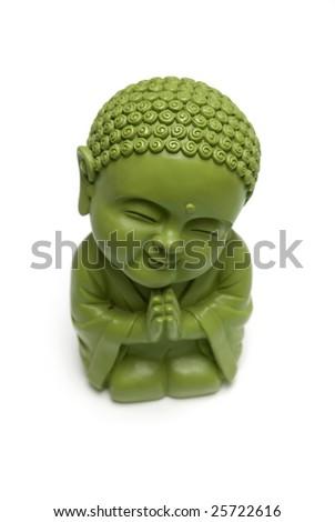 Buddha green statue isolated on white - stock photo