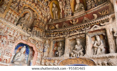 Buddha grottoes - stock photo