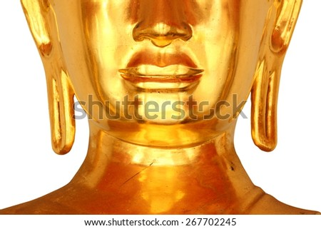 buddha head statue in buddhist temple wat pho, bangkok, thailand, isolated on white background (focus on face) - stock photo
