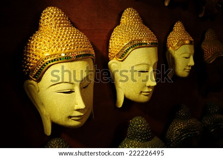 Buddha heads for home decoration - stock photo