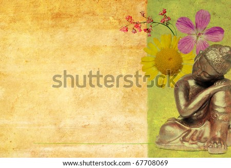 buddha illustration with earthy texture - stock photo