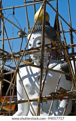 buddha image against blue sky,under construction.