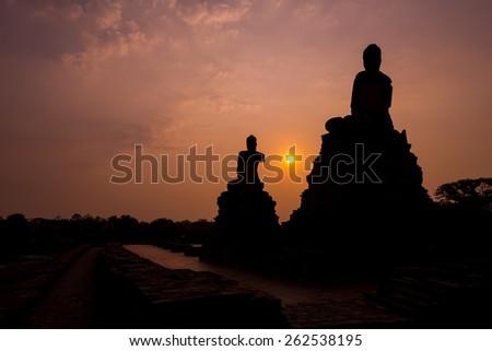 Buddha image at old temple of Ayuthaya, Thailand - stock photo