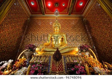 Buddha image in church of Wat thai, Bangkok, Thailand. Buddha Status, Wat Bang Nang Nai in Bangkok, Thailand - stock photo