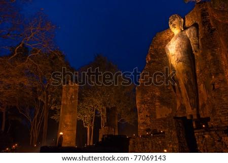 Buddha Image in Wat Phra Si lriyabot at Kamphaeng Phet Historical Park, Kamphaeng Phet Province, Thailand - stock photo