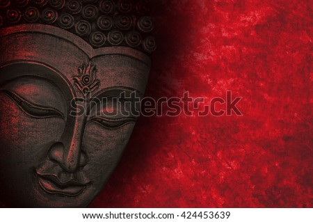 Buddha image with red background - stock photo