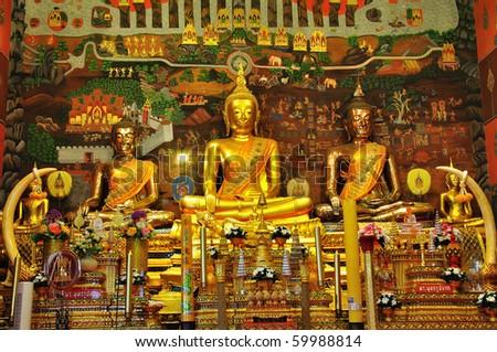 Buddha images at Ayuthaya, Thailand - stock photo
