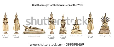Buddha Images for the Seven Days - stock photo