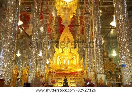 Buddha in a glass temple Wat Tha Sung Thailand - stock photo