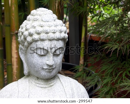 Buddha in Bamboo Garden - stock photo