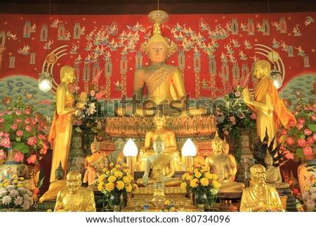 Buddha in church at Wat Yai Chaimongkol,Thailand. - stock photo