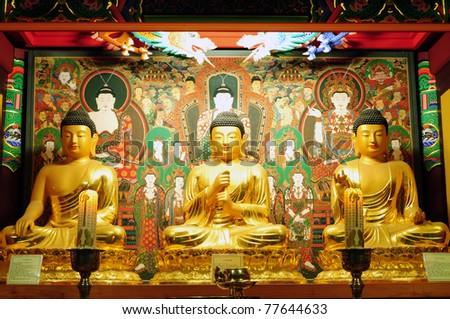 Buddha in Korea temple - stock photo