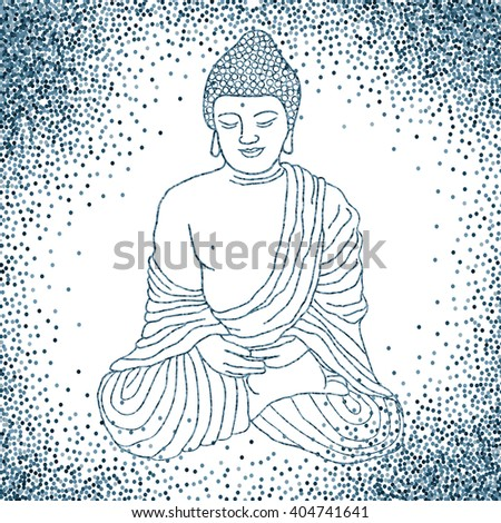 Buddha in meditation, sitting in lotus position. Hand drawn illustration. Banner or flyer with confetti glitter on white background . Raster illustration. - stock photo