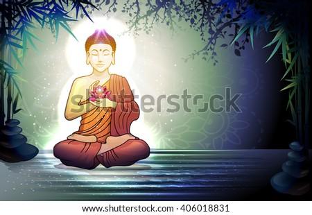 Buddha in Meditation With Lotus Flower in Tranquil Zen Garden  10. - stock photo