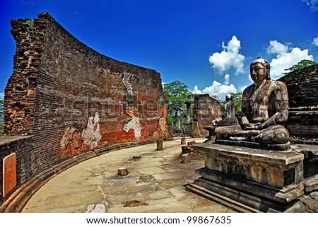 Buddha in Polonnaruwa temple - medieval capital of Ceylon,UNESCO World Heritage Site - stock photo